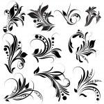 Black Floral Elements — Stock Vector