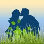 Romantic Couple in Garden — Stock Vector