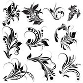 Black Floral Elements — Stock Vector