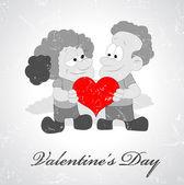 Vintage Art of Valentine Couple — Stock Vector