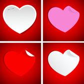 κυρτωμένο χαρτί καρδιές — Διανυσματικό Αρχείο