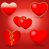 Various Vector Hearts — Stock Vector