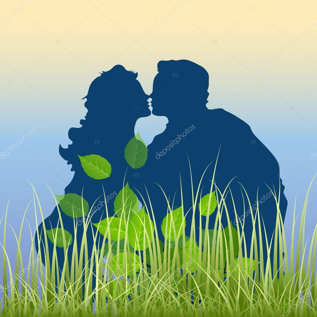 Baixar  Casal romântico no jardim — Ilustração de Stock #8427601