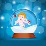 Cupid in Snow Globe — Stock Vector