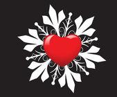 Kwiecisty tło czerwone serce — Wektor stockowy