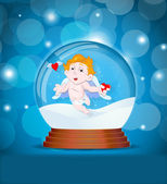 Cupid in Snow Globe — Cтоковый вектор