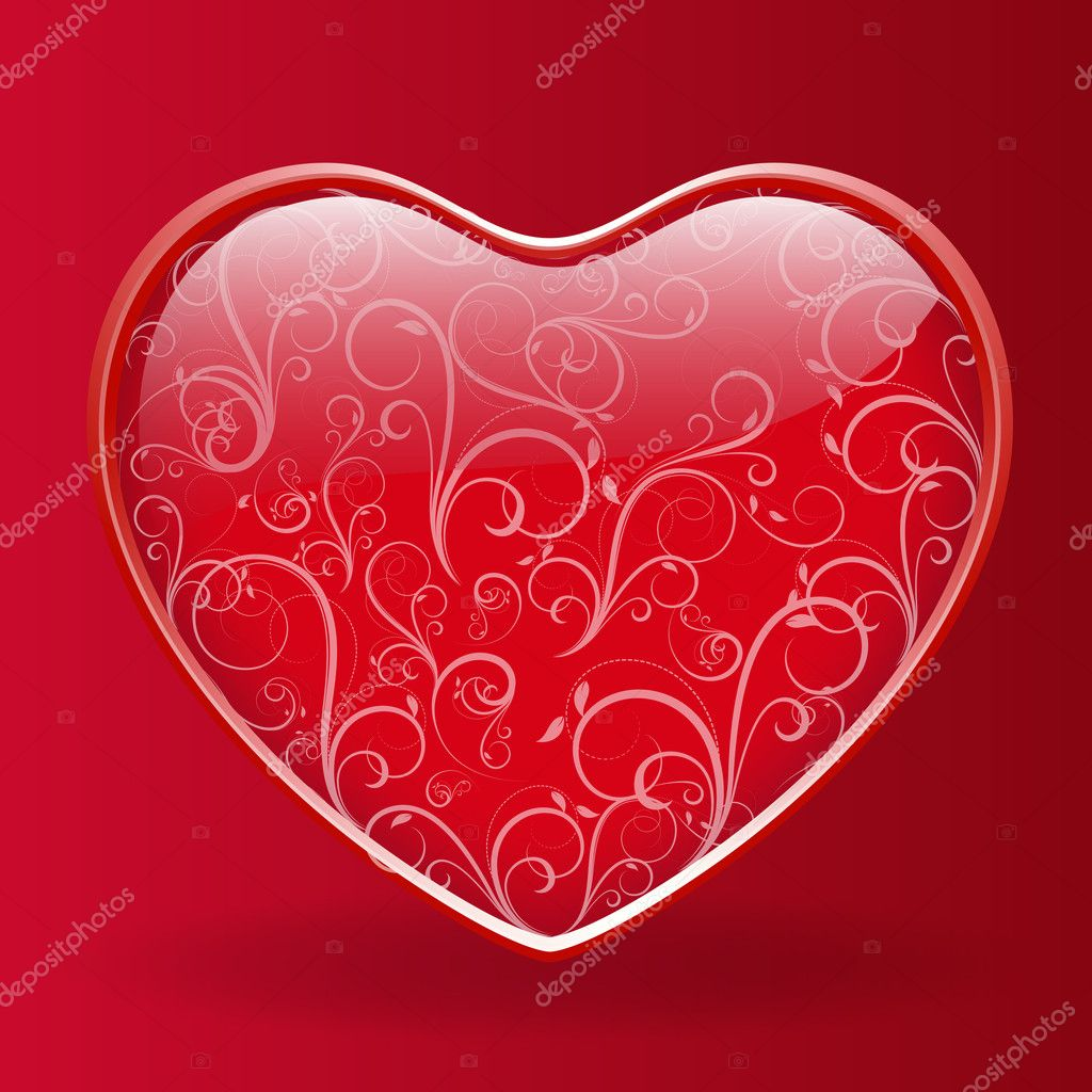 Abstract Decor Design of Red Floral Heart — Stock Vector #8475858