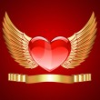 Red Heart with Golden Wings — Stock Vector