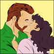 Stock Vector: Retro Couple Kissing