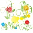 Colorful Rose Flowers — Stock Vector