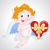 Happy Cupid with Heart Gift — Stock Vector