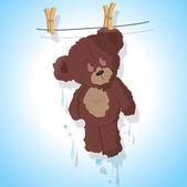 Wet Teddy Bear — Stock Vector