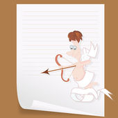 Cupid on Curled Paper — Stock Vector