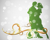 Romantic Couple in Decorative Background — Stock Vector