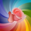 Vector Rose on Colorful Background — Stock Vector