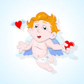 Baby Cupid Catching Heart — Stock Vector
