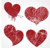 Conjunto de corazones grunge — Vector de stock