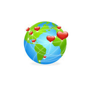 Cuori sulla terra verde — Vettoriale Stock