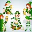 Royalty-Free Stock Vector Image: St. Patrick\'s Day Bar Leprechaun Girls Vectors
