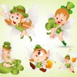 Stock Vector: St. Patrick's Day Fairies
