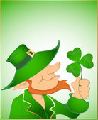 Illustration of Leprechaun with Shamrock — Stock Vector