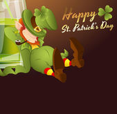 Drunk Leprechaun Greeting Card — Stock Vector