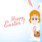Kid Bunny Easter Background — Stock Vector
