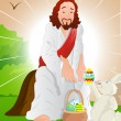 Illustration of Jesus Christ with Easter Bunny — Stock Vector