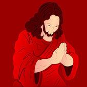 Abbildung von Jesus Christus zu beten — Stockvektor
