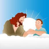 Gesù cristo con illustrazione di giovane ragazzo — Vettoriale Stock