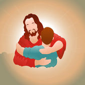 Happy Jesus with Young Boy — Stock Vector