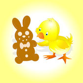 Yellow Chick with Easter Bunny — Stock Vector