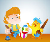 Kid and Chicken Painting Easter Eggs — Stock Vector