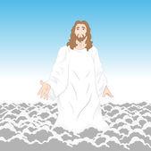 Ježíš kristus na mraky — Stock vektor
