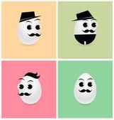 Set of Cartoon Eggs — Stock Vector