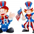 Set of Happy Uncle Sam - Stock Vector