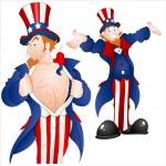 Set of Patriotic Uncle Sam Vector — Stock Vector