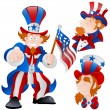 Set of Peaceful Uncle Sam Vector - Stock Vector