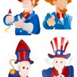 Stock Vector: 4th of July Uncle Sam Portraits