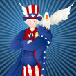 Uncle Sam with Bird — Stock Vector