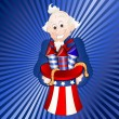 Stock Vector: Uncle Sam with Fireworks