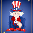 Stock Vector: 4th of July Uncle Sam Card