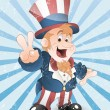 Happy Uncle Sam Grunge Vector — Stock Vector