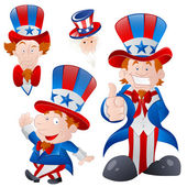 Set of Cartoon Uncle Sam — Stok Vektör