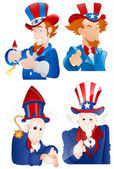 4th of July Uncle Sam Portraits — Stock Vector