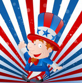 Cute Kid Uncle Sam — Stock Vector