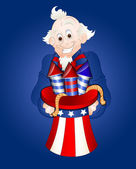Uncle Sam with Fireworks Vector — Stock Vector