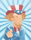 Winking Uncle Sam Vintage Art — Stock Vector