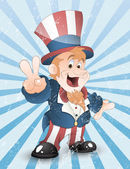 Happy Uncle Sam Grunge Vector — Stock Vector