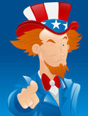 Winking Uncle Sam — Stock Vector